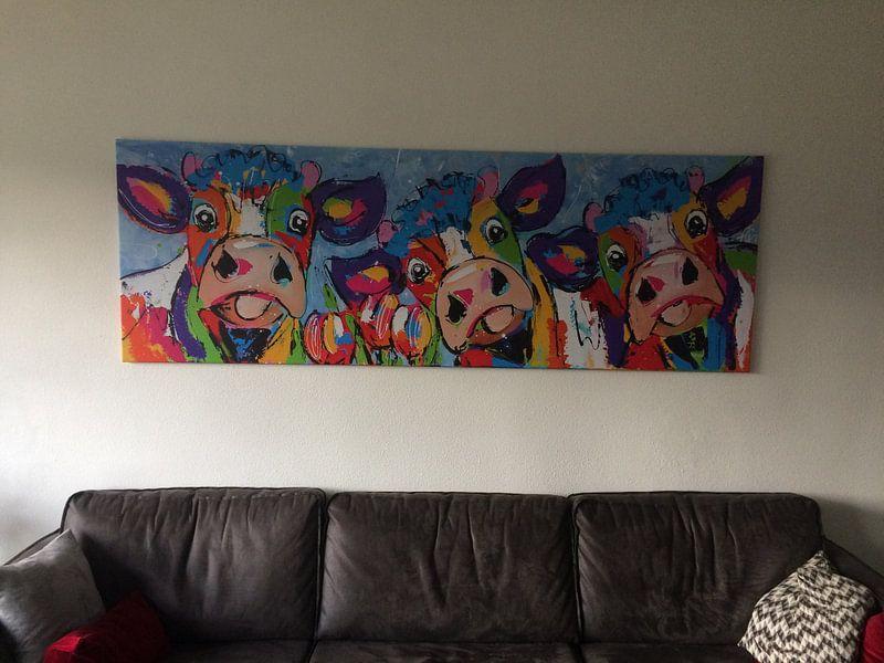 Klantfoto: 3 koeien blauwgrijs van Vrolijk Schilderij