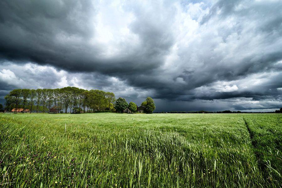Zomerstorm boven de velden