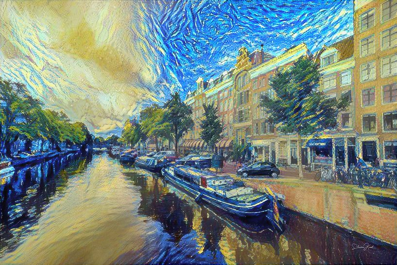 Schilderij Amsterdam: Amsterdamse Grachten in de stijl van Van Gogh van Slimme Kunst.nl