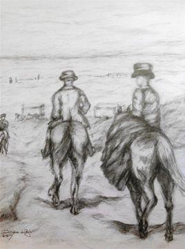 Naar het strand met de paarden. van