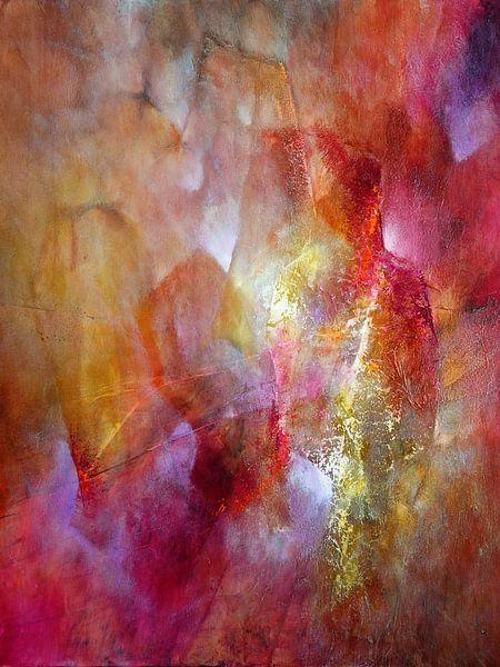 Het licht - rood ontmoet roze en geel van Annette Schmucker