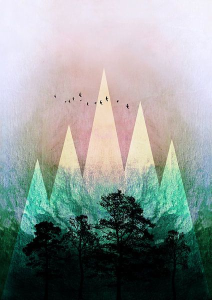 TREES under MAGIC MOUNTAINS IV van Pia Schneider