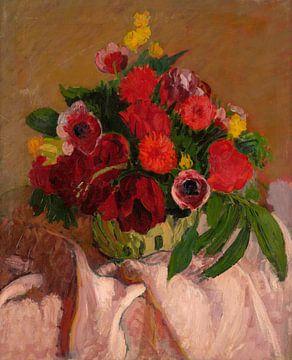 Fleurs mélangées sur toile rose, Roderic O'Conor sur