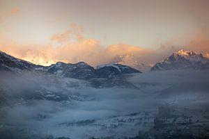 Zonsopkomst Ecrins met Mont-Dauphin
