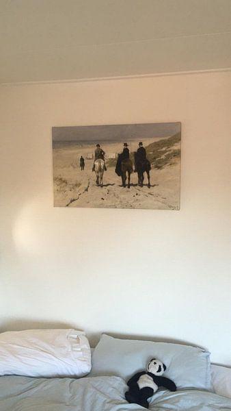 Klantfoto: Morgenrit langs het strand, Anton Mauve, op canvas