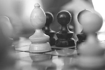 schaakspel op bord van Alfred Stenekes