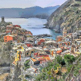 Vernazza Cinque Terre Italie - Cartoon Painting sur Schildersatelier van der Ven