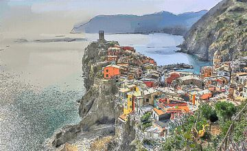 Vernazza Cinque Terre Italie - Cartoon Painting