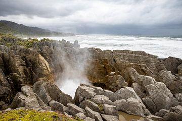 Pancake Rocks Punakaiki - Nieuw Zeeland van Jurgen Buijsse