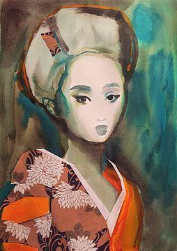 Chrysantemum Kimono van Helia Tayebi Art