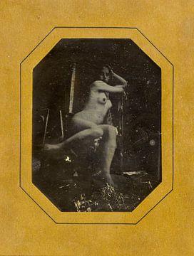 Pinup-Girl posierend, sexy Akt. altes Foto, aufgenommen zwischen 1842 und 1846. von Atelier Liesjes