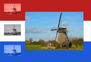 Mühle unter niederländischer Flagge von Leo Huijzer