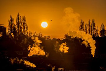 Zonopkomst in Overschie (Rotterdam) van Fred Leeflang