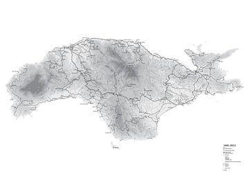 Karte der griechischen Insel Samos. Schwarz und weiß. von Marjolein Hameleers