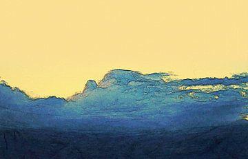 Abstrakt - Wettergeschichten - Wie der Wind - Delfin auf der Welle der Wolken von Schildersatelier van der Ven