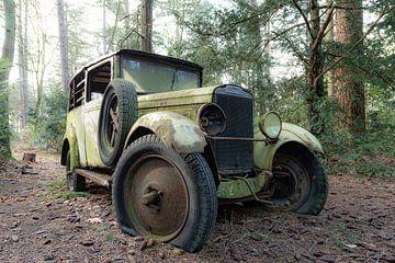 Green Oldtimer in the Woods van Lien Hilke