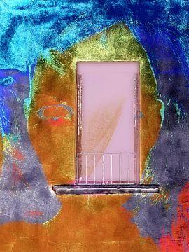 The woman and the pink window von Gabi Hampe