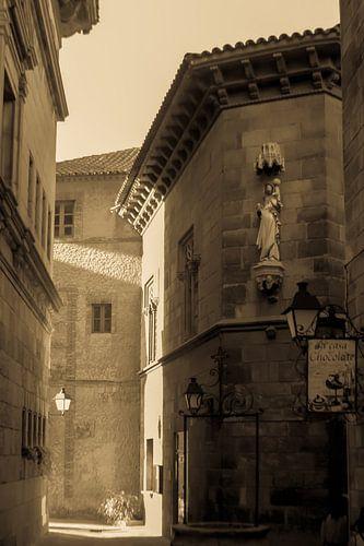 Straat in Barcelona van Tessa Louwerens