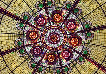 Schilderachtige glas-in-lood ramen van een beroemd casino in Las Vegas, Nevada, USA van Carolina Reina