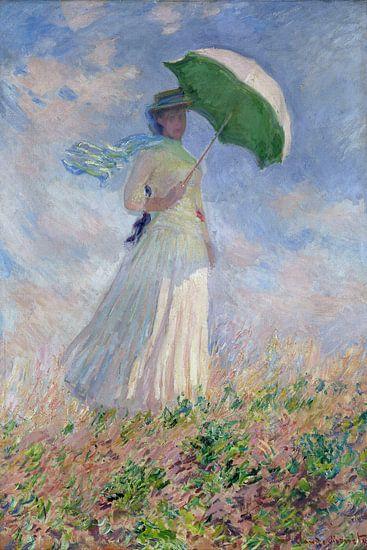 Vrouw met parasol gedraaid naar rechts, Claude Monet