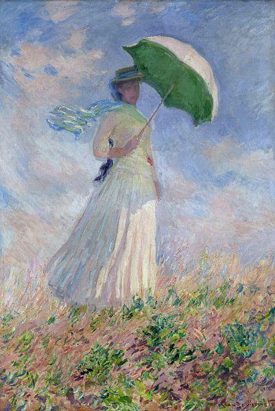 Vrouw met parasol gedraaid naar rechts, Claude Monet van Meesterlijcke Meesters