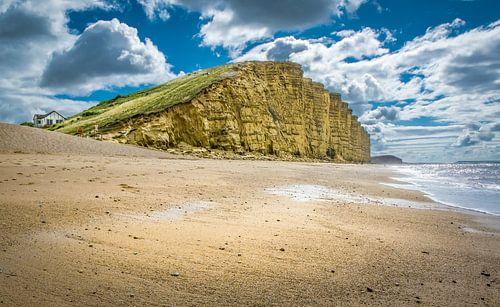 Klif op het strand van Broadchurch, Groot-Brittannië