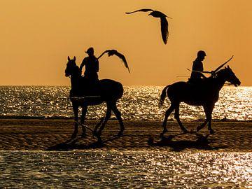 Ruiters aan zee in de avond von Anneriek de Jong