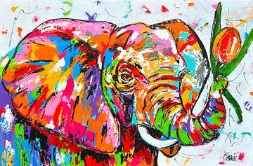 Fröhlicher Elefant mit Tulpe von Vrolijk Schilderij