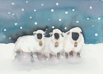 Originele aquarel van schapen in winter van Yvette Stevens
