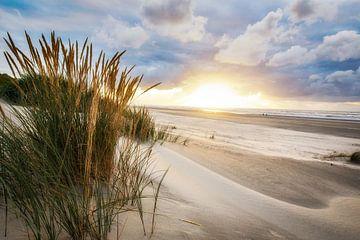 Sonnenuntergang auf Ameland in der Nähe des Strandes von Buren von Arjan Boer
