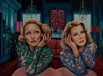 Marlene Dietrich und Greta Garbo Gemälde von Paul Meijering