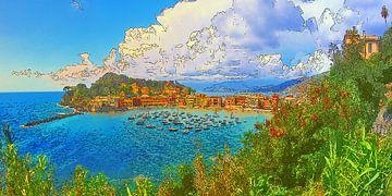 Italië Sestri Levante Baia del Silenzio Panorama van Dirk van der Ven