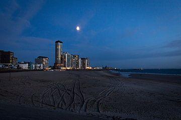 Uitzicht op boulevard van Vlissingen bij nacht van Madelief Dekker