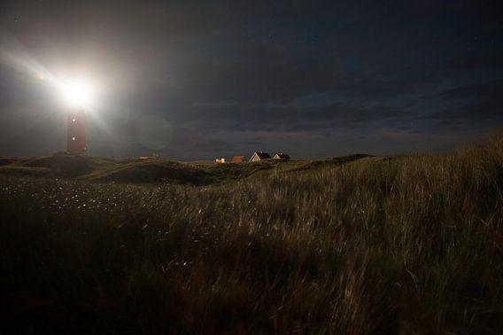 Vuurtoren Texel bij nacht
