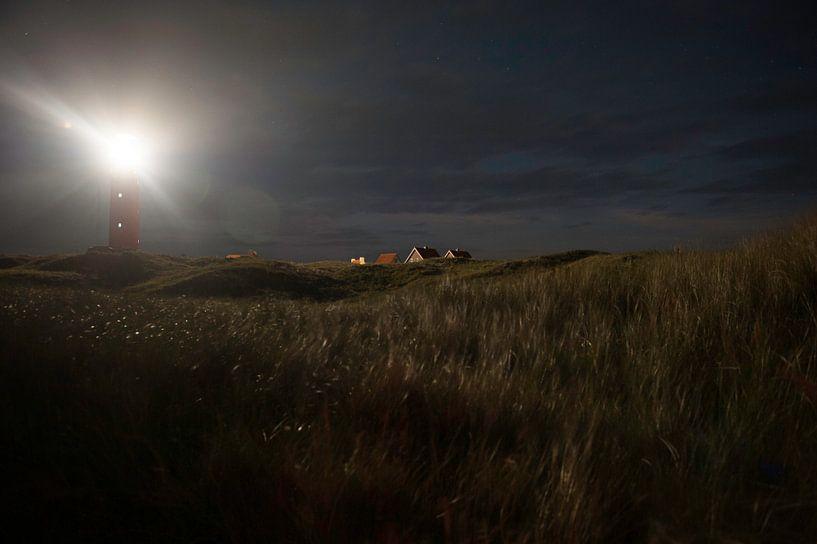 Vuurtoren Texel bij nacht van Brian Morgan