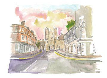 Yorkshire Oude Stad Micklegate Straatbeeld van Markus Bleichner