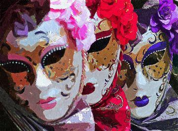 Weibliche venezianische Masken Venedig Italien Malerei von Schildersatelier van der Ven