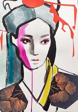 Geisha Ginkgo Biloba von Helia Tayebi Art