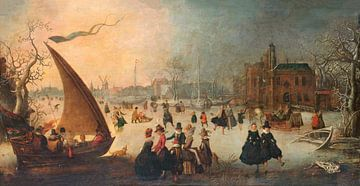 Landschaft mit zugefrorenem Kanal, Schlittschuhläufern und einem Eisboot, Adam van Breen