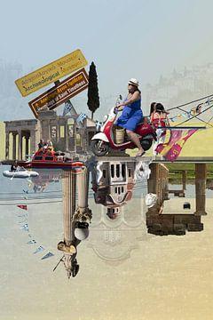 Collage Griechenland Urlaub Akropolis Peloponnes von Marianne van der Zee