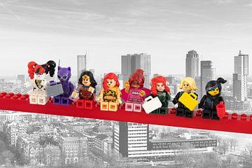 Lunch atop a skyscraper Lego edition - Super Heroes - Women - Rotterdam van Marco van den Arend