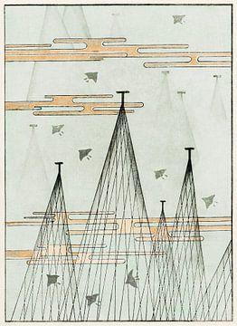 Luchtgezicht met vliegende vogels, Watanabe Seitei
