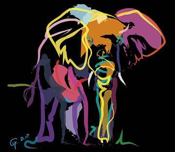 Elefant in Farbe von Go van Kampen