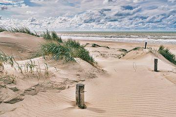 Het duin met het strand en de Noordzee