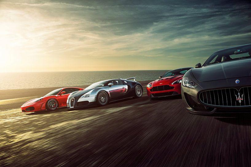 Sunset Dragrace F430, Veyron, Vantage und Stradale von Gijs Spierings