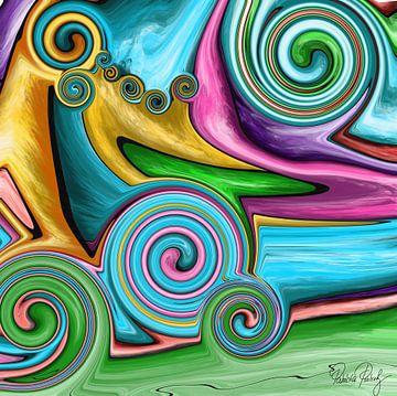 Abstrakte Kunst - Fluid Painting Tornado über der Wiese van Patricia Piotrak