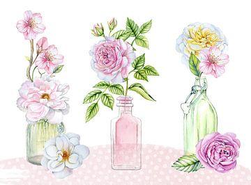 Rosenstillleben im Glas von Geertje Burgers