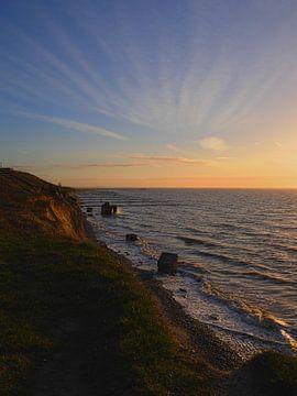 Sunset at Ahrenshoop cliff line van Jörg Hausmann