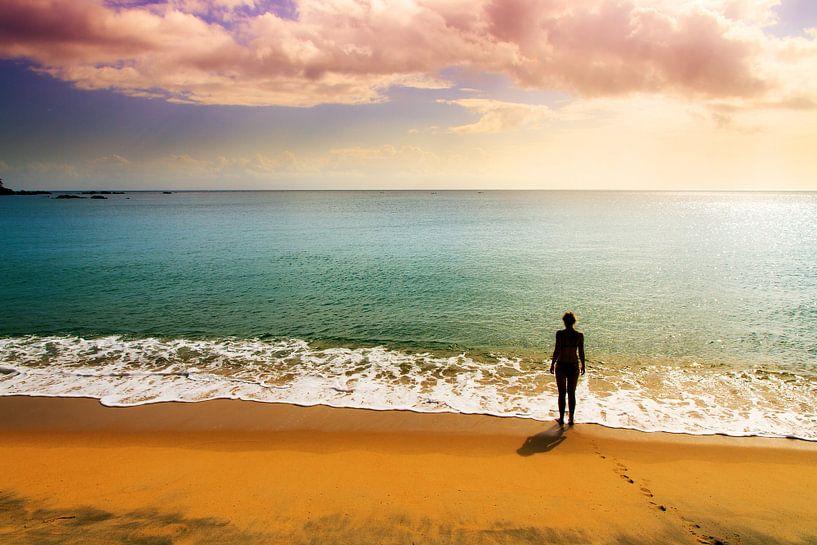 Sunset beach thoughts van Dennis van de Water