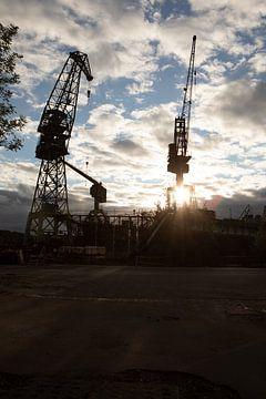 Gdansk havenstad in Polen met de beroemde kranen van Eric van Nieuwland